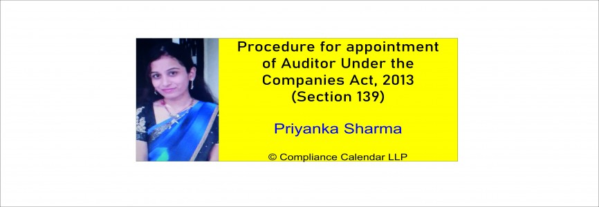 Procedure for appointment of Auditor Under the Companies Act, 2013 (Section 139) By Priyanka Sharma