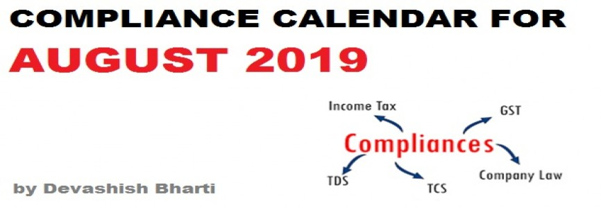 Due Date Chart For August 2019 compiled by Devashish Bharti