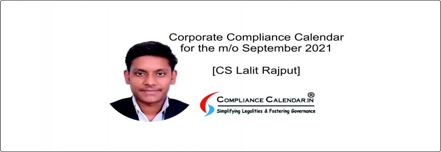 Compliance Calendar October 2021 [CS Lalit Rajput]