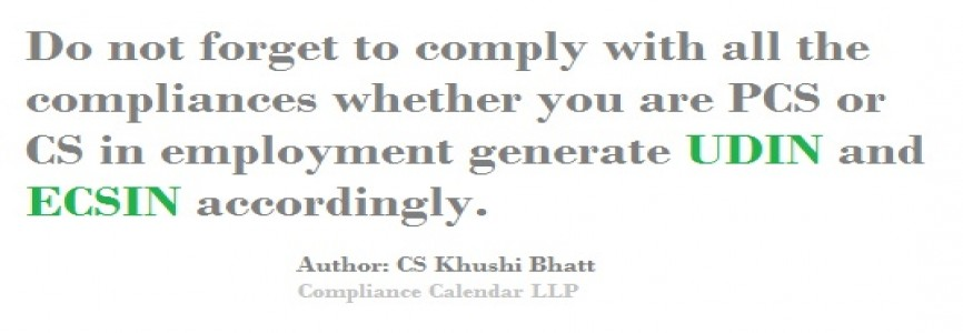 When UDIN/ECSIN needs to be used ? Read Article compiled by CS Khushi Bhatt