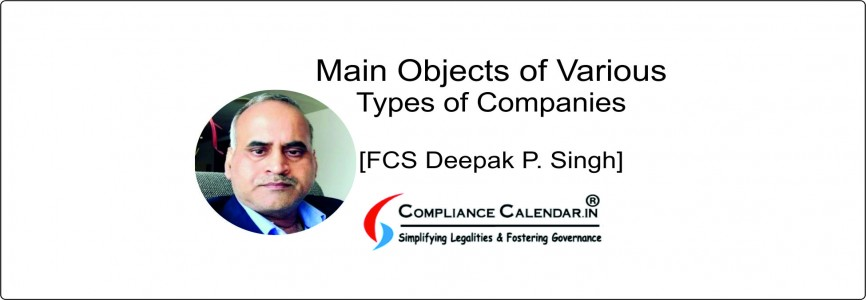 Main Objects of Various Types of Companies [FCS Deepak P. Singh]
