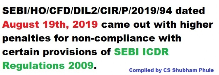 Non compliance with sebi (issue of capital and disclosure requirements) regulations 2018 will attract higher fines compiled by CS Shubham Phule