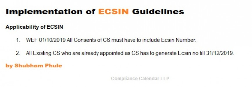 eCSin (Employee Company Secretary Identification Guidelines) and Procedure for Generation Of eCSin by Shubham Phule