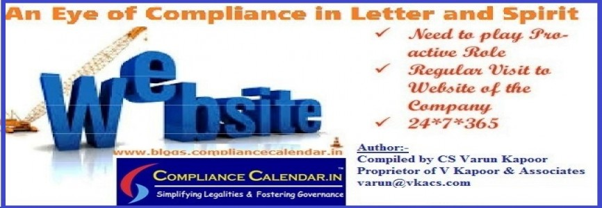 Website- An Eye of Compliance in Letter and Spirit compiled by CS Varun Kapoor