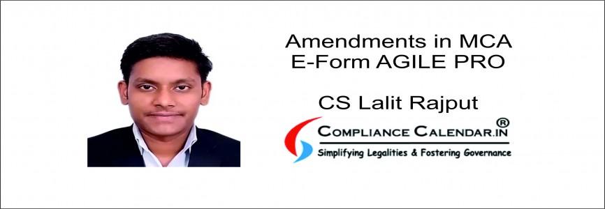 Amendments in MCA E – Form AGILE PRO By CS Lalit Rajput