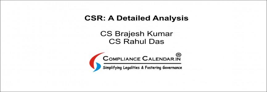 CSR: A Detailed Analysis By CS Brajesh Kumar and CS Rahul Das