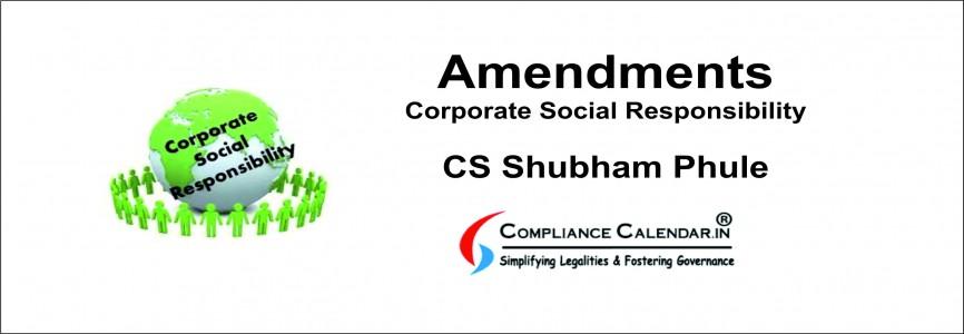 Amendments in Corporate Social Responsibility (CSR) By CS Shubham Phule