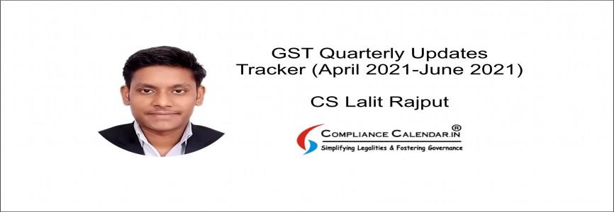 GST Quarterly Updates Tracker (April 2021 – June 2021) By CS Lalit Rajput