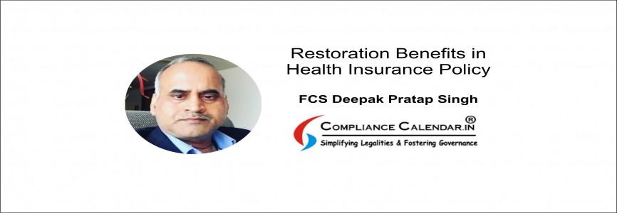 Restoration Benefits in Health Insurance Policy By FCS Deepak Pratap Singh