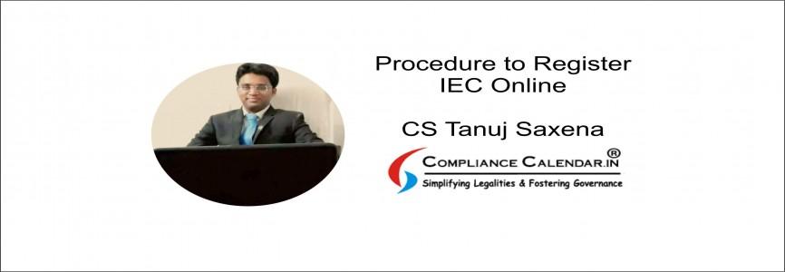 Procedure to Register IEC Online By CS Tanuj Saxena