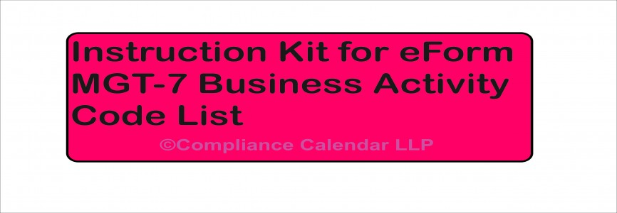 Instruction Kit for eForm MGT-7 Business Activity Code List