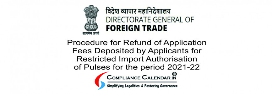 Procedure for Refund of Application Fees Deposited by Applicants for Restricted Import Authorisation of Pulses for the period 2021-22