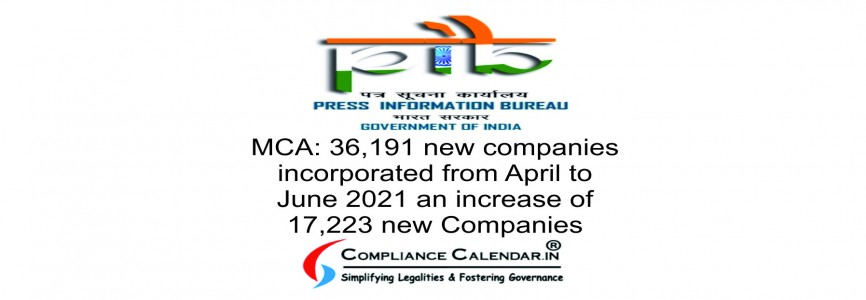 MCA: 36,191 new companies incorporated from April to June 2021 an increase of 17,223 new Companies