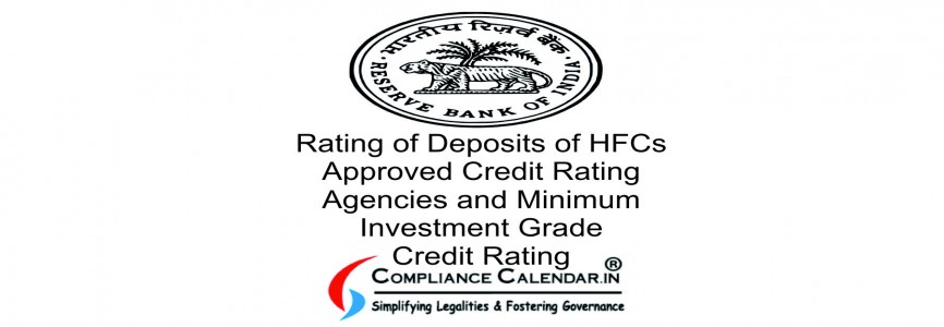 Rating of Deposits of HFCs Approved Credit Rating Agencies and Minimum Investment Grade Credit Rating
