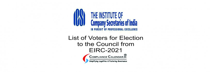 List of Voters for Election to the Council from EIRC-2021